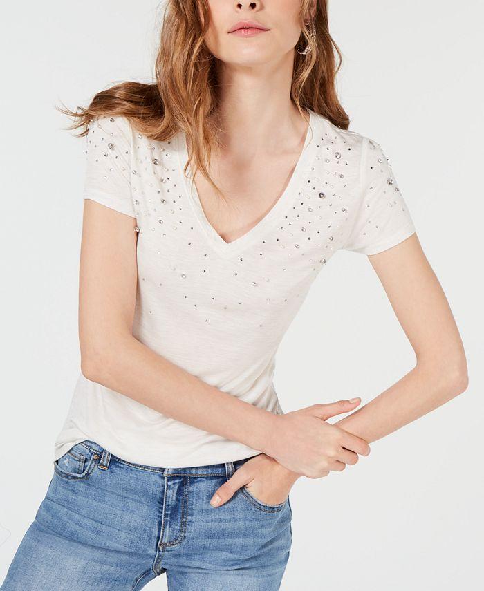 INC International Concepts - Embellished V-Neck T-Shirt
