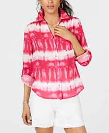 I.N.C. Pink Tie-Dye Button-Up Shirt, Created for Macy's