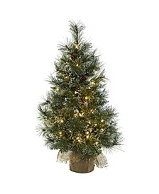 3-Ft. Christmas Tree with Clear Lights, Frosted Tips, Pine Cones and Burlap Bag
