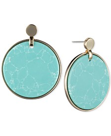 DKNY Gold-Tone Stone Disc Drop Earrings, Created for Macy's