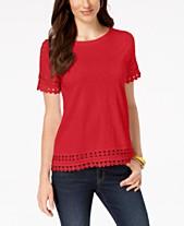 847b1bf14d6a45 Charter Club Cotton Circle-Trim T-Shirt, Created for Macy's