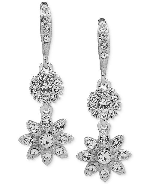 Givenchy Crystal Flower Double Drop Earrings