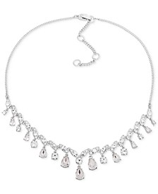 "Silver-Tone Crystal Statement Necklace, 16"" + 3"" extender"