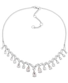 "Givenchy Silver-Tone Crystal Statement Necklace, 16"" + 3"" extender"