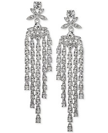 Givenchy Silver-Tone Crystal Fringe Linear Drop Earrings