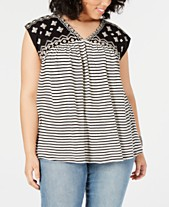 1ae17d364b4 Lucky Brand Plus Size Mixed-Print Embroidered Top