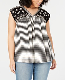 0bafca13c81 Lucky Brand Plus Size Mixed-Print Embroidered Top