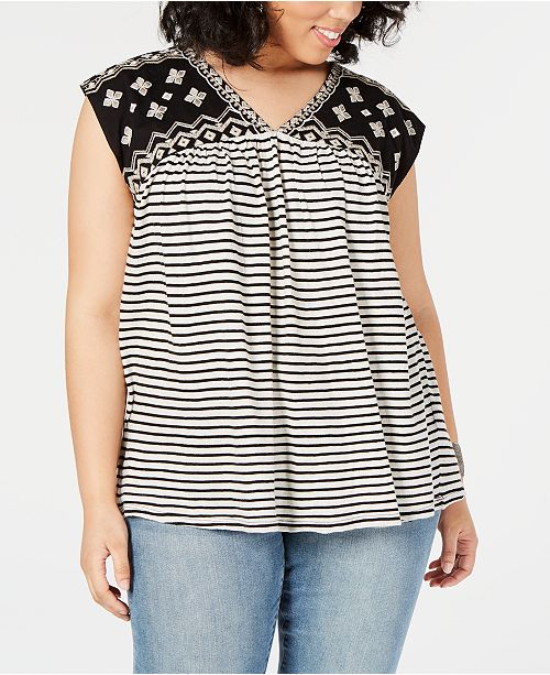 Lucky Brand Plus Size Mixed-Print Embroidered Top, Created for Macy's