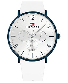 Tommy Hilfiger Women's White Leather Strap Watch 40mm Created for Macy's