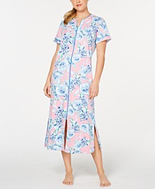 Flower-Print Interlock-Knit Zip-Up Robe