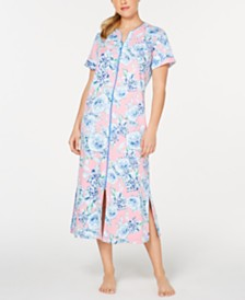 Miss Elaine Flower-Print Interlock-Knit Zip-Up Robe