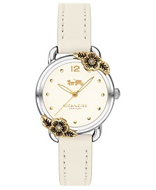 COACH Women's Delancey Chalk Leather Strap Watch 28mm