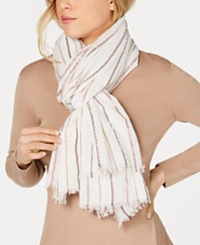 DKNY Metallic-Stripe Pareo Scarf