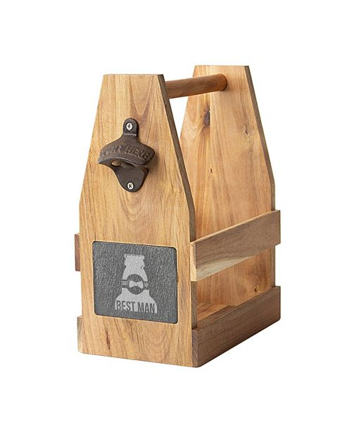 Cathy's Concepts Best Man Acacia Slate Beer Carrier with Magnet and Bottle Opener