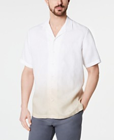 Tasso Elba Men's Ombré Camp Collar Linen Shirt, Created for Macy's