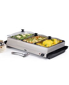 Elite Platinum 3 x 2.5 Quart Stainless Steel Electric Buffet Server