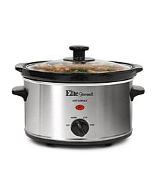 Elite Gourmet 2 Quart Oval Stainless Steel Slow Cooker