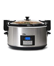 Elite Platinum 8.5 Quart Stainless Steel Programmable Slow Cooker with locking lid