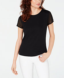 Maison Jules Textured-Sleeve Top, Created for Macy's