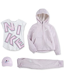 Nike Little Girls Logo-Print Cotton T-Shirt, Hoodie, Jogger Pants & Cap Separates