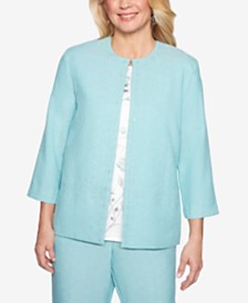 Alfred Dunner Petite Versailles Open-Front Jacket