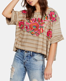 Free People Catalunya Striped Embroidered T-Shirt
