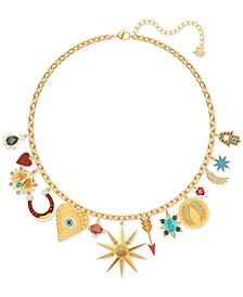 """Gold-Tone Lucky Goddess Charm Necklace, 14-1/8"""" + 2"""" extender"""