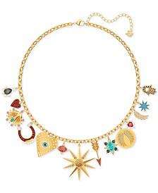 "Swarovski Gold-Tone Lucky Goddess Charm Necklace, 14-1/8"" + 2"" extender"