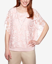 Alfred Dunner Petites Society Pages Overlay Necklace Top