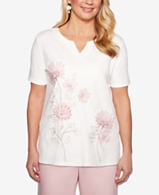 Alfred Dunner Petite Society Pages Embroidered Studded Top