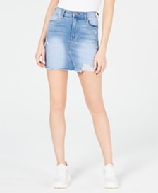 Kendall + Kylie Ripped Denim Skirt
