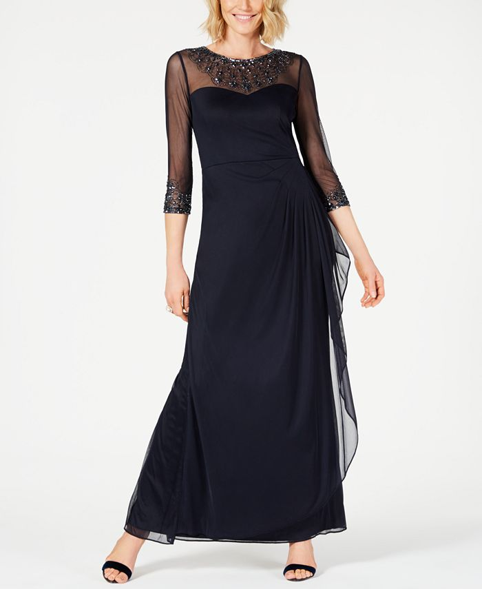 Alex Evenings - Illusion Embellished A-Line Gown