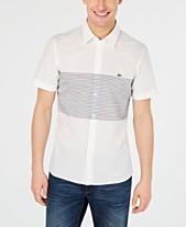 d2a9704ebca5d5 Lacoste Men s Slim-Fit Engineered Stripe Shirt