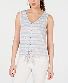 Juniors' Striped Rib-Knit Tie-Front Tank Top