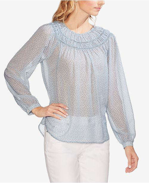 a0b9006148a Vince Camuto Smocked Sheer Peasant Top   Reviews - Tops - Women - Macy s