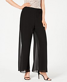 Petite Straight-Leg Overlay Pants