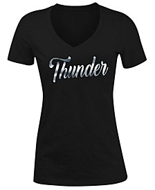 Women's Oklahoma City Thunder Foil V Neck T-Shirt