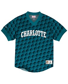 Mitchell & Ness Men's Charlotte Hornets Kicking It Wordmark Mesh T-Shirt