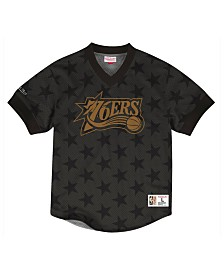 Mitchell & Ness Men's Philadelphia 76ers Kicking It Wordmark Mesh T-Shirt