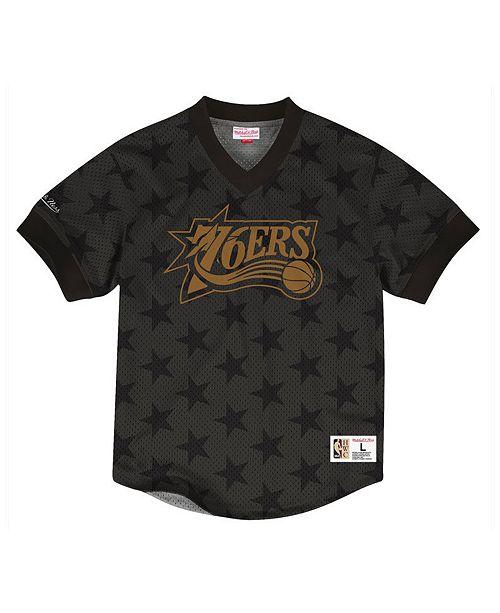 557fb7e28 Mitchell   Ness Men s Philadelphia 76ers Kicking It Wordmark Mesh T-Shirt