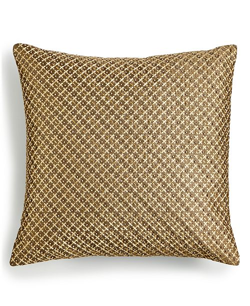 """Home Design Studio  Handstitched Beaded 16"""" x 16"""" Decorative Pillow, Created for Macy's"""