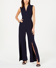 Connected Petite V-Neck Split-Leg Jumpsuit