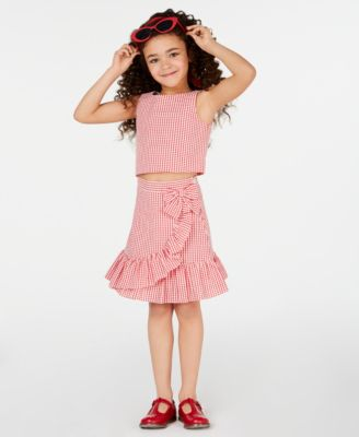 Little Girls 2-Pc. Gingham Top & Skirt Set