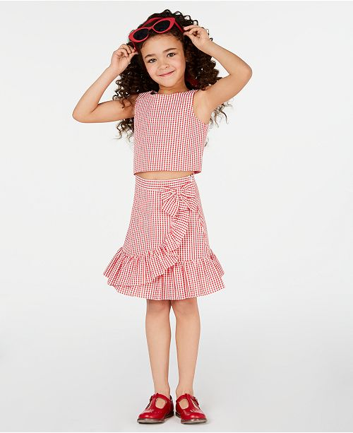 Rare Editions Matching Sister Dress Toddler, Little & Big Girls 2-Pc. Gingham Seersucker Top & Skirt Set