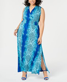 I.N.C. Plus Size Medallion-Print Smocked Maxi Dress, Created for Macy's
