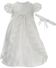 Baby Girls 2-Pc. Christening Dress & Headband Set