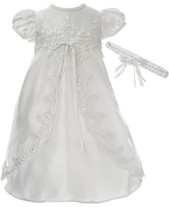 3911bf994 Lauren Madison Baby Girls 2-Pc. Christening Dress & Headband Set
