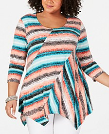 Plus Size Spliced Printed Top