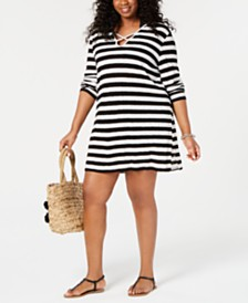 Miken Plus Size Long-Sleeve Hooded Swim Cover-Up