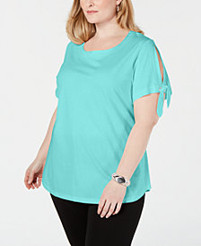 Karen Scott Plus Size Slit-Sleeve T-Shirt, Created for Macy's